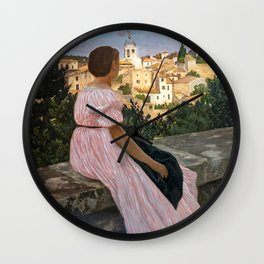 Frederic Bazille artwork - The Pink Dress Wall Clock