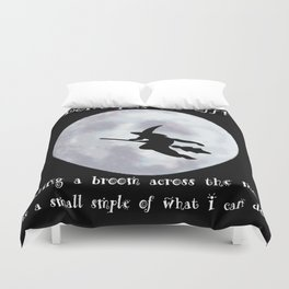 Witch, Witch Flying Across the Moon Duvet Cover