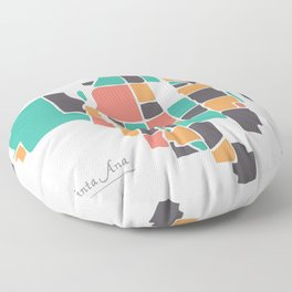 Santa Ana California Map with neighborhoods and modern round shapes Floor Pillow
