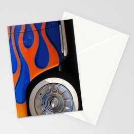 Chrome hubcaps, orange flames Stationery Cards