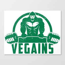 Vegains Vegan Muscle Gorilla - Funny Workout Quote Gift Canvas Print