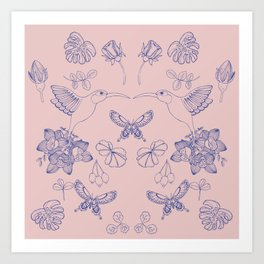 Hummingbird Garden (Ink Blue and Rosa) Art Print