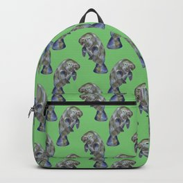Watercolor Manatees on Muted Green Backpack