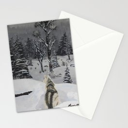 Husky in the Snow Stationery Cards
