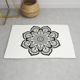 Black and White Flower Rug