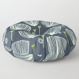 Tulip Garden M+M Navy Black by Friztin Floor Pillow