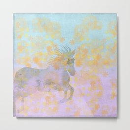 Dream Horse:  Watercolor horse in vibrant meadow - brilliant pastel sky and wildflowers Metal Print