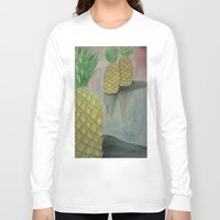 pineapples Long Sleeve T-shirts featuring Festive Pineapples by Emily Lowe
