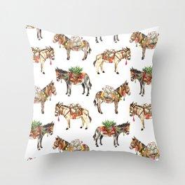 Nepal Donkeys Throw Pillow