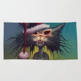 Zombie Cat Christmas Beach Towel