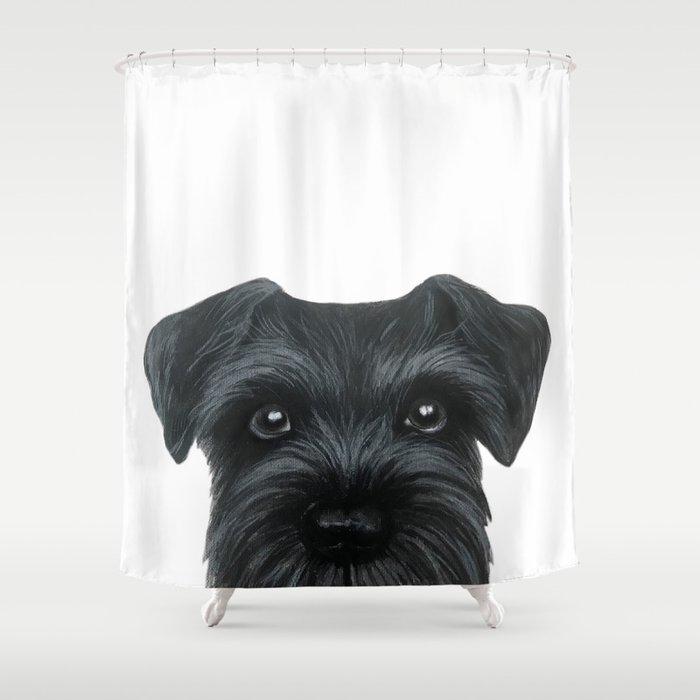 Black Schnauzer Dog Illustration Original Painting Print Shower Curtain