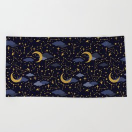 Celestial Stars and Moons in Gold and Dark Blue Beach Towel