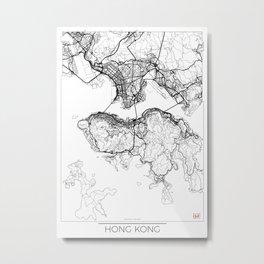 Hong Kong Map White Metal Print
