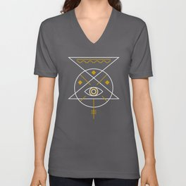 Sacred Geometry All Knowing Eye Cool Abstract Design Unisex V-Neck