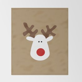Christmas Reindeer-Brown Throw Blanket