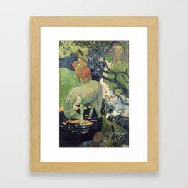 The White Horse by Paul Gauguin Framed Art Print
