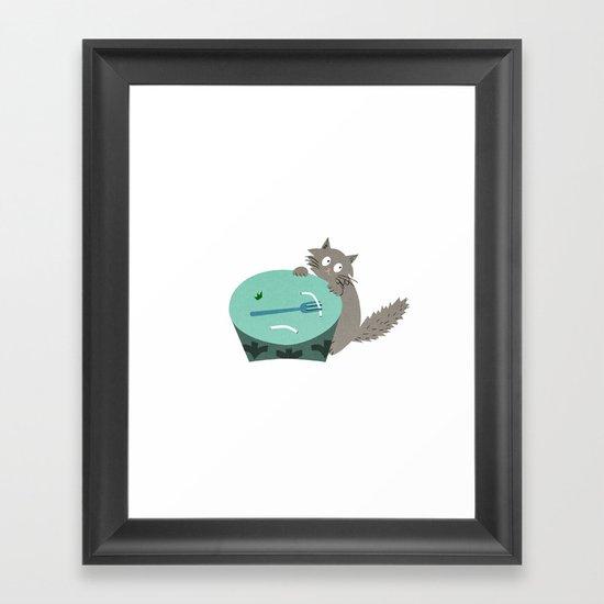 Hungry Kitten Framed Art Print