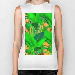 BRIGHT GREEN & GOLD TROPICAL FOLIAGE ART Biker Tank
