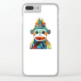 Sock Monkey Art - Your New Best Friend - By Sharon Cummings Clear iPhone Case