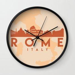 ROME ITALY CITY MAP SKYLINE EARTH TONES Wall Clock