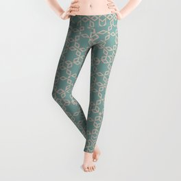 Mint and Cream Pastel Star Pattern Leggings
