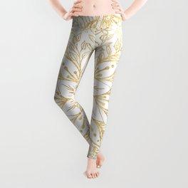Gold Glitter Flower Mandala Elegant White Design Leggings