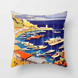 Grece Travel Poster Throw Pillow