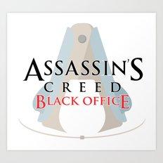 Assassin's Creed Black Office Art Print