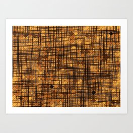 geometric square pixel pattern abstract in brown Art Print