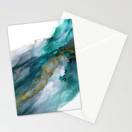 Wild Rush - abstract ocean theme in teal gray gold, marble pattern Stationery Cards