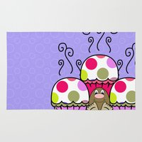 polkadot Area & Throw Rugs featuring Cute Monster With Pink And Purple Polkadot Cupcakes by Mydeas