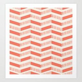 coral lines pattern Art Print