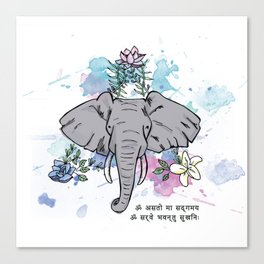 Elephants, Flowers & Mantras Canvas Print