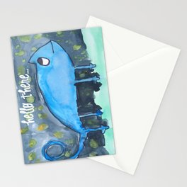 Blue Gecko watercolor Stationery Cards