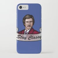 anchorman iPhone & iPod Cases featuring Ron Burgundy - Stay Classy - Anchorman by Hungry Designs