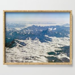 Himalaya mountains under clouds Serving Tray