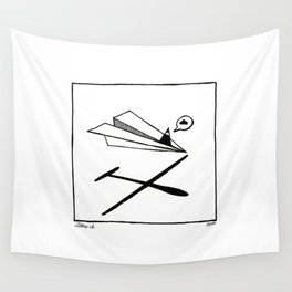 Ninja flies a Paper Plane Wall Tapestry