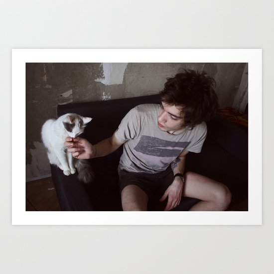 boy with cat Art Print