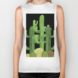 Desert Vacay Three Cacti on Black Biker Tank
