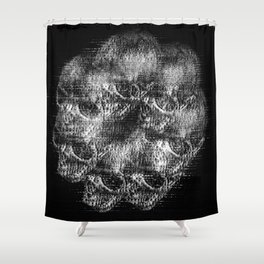 Analogue Glitch Skull Ring Shower Curtain