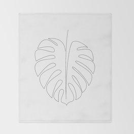 Monstera - single line art Throw Blanket