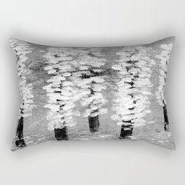 Cherry trees caught in a spring snow shower Rectangular Pillow