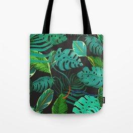 nigth tropical leaves Tote Bag