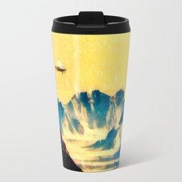 UFO Over Snowy Mountains Travel Mug