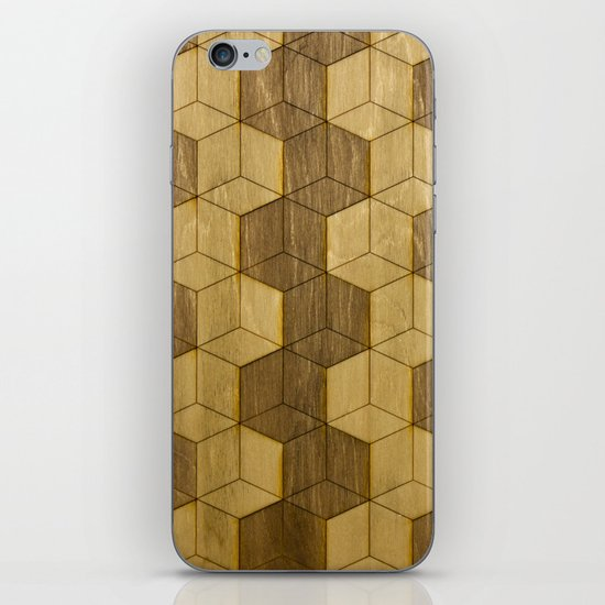 Wooden Zig Zag Optical Cubes iPhone & iPod Skin