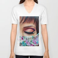 make up V-neck T-shirts featuring Make Up by Eduard Leasa Photography