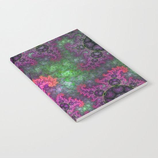 Dragon spirals in a green field, fractal art Notebook