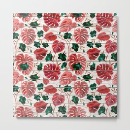 Rustic white wood red green tropical floral illustration Metal Print