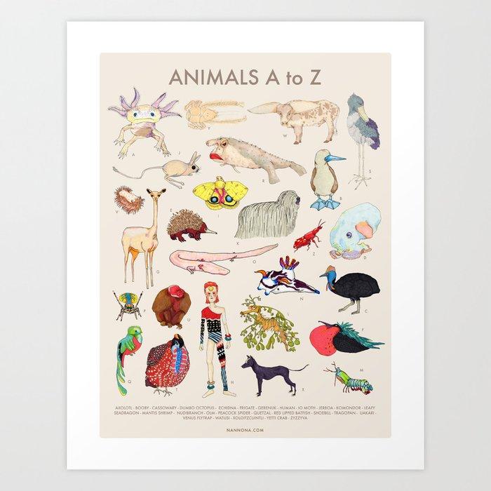 Bizarro Animals - A to Z Art Print