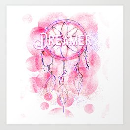 Pink and purple dreamer dream catcher Art Print